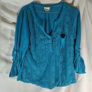 Self Esteem XL Blue Lace Front Top with pocket